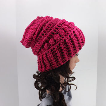 NEW! Crochet Slouchy Hat /HOT PINK/, Crochet Slouchy Beanie, Fall/Winter Hat, Fashion Accessory 2014