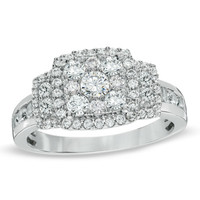 1 CT. T.W. Composite Diamond Square Frame Engagement Ring in 14K White Gold