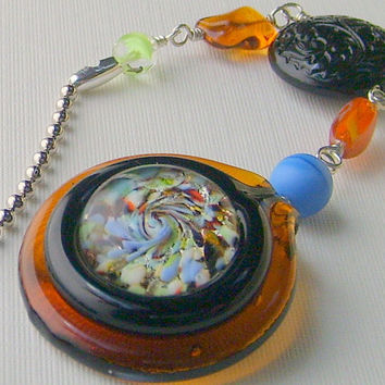 Ceiling Fan Pull Beaded Amber Black Orange Blue Green White Pendant Silver Chain FREE SHIPPING