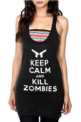 Keep Calm And Kill Zombies Girls Tunic Tank Top - 966070
