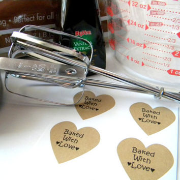 Brown Kraft Baked with Love Heart Stickers, 24 pieces, Embellishment, Favor Bag Sticker, Baked Goods Sticker
