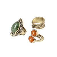 FOREVER 21 Faux Stone Ring Set Green/Antic.G