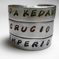 Harry Potter Unforgivable Curse Stamped Aluminum Ring Set