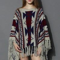 Aztec Fringe Knitted Poncho in Navy Blue Free
