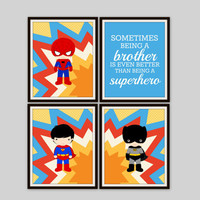 Superhero Prints - Sometimes Being a Brother Quote, Boys Room, Brothers Print, Nursery Decor, Comic Book, Kids Room Poster, Set of 4 Prints