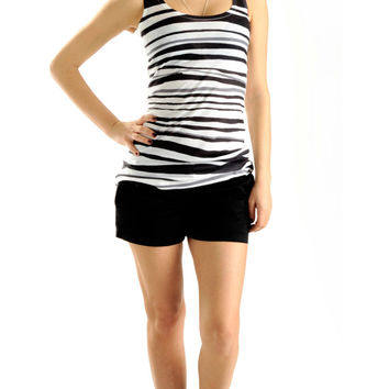 New Arrival! Black Zebra Striped Women Shirt, summer fashion, one side printed