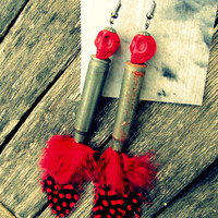Red & Black Skull Feather Earrings by cosamuerta