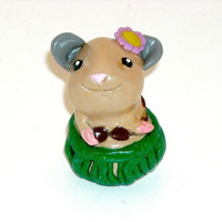 Hamster Hula Dance Figurine, Figure, Summer Home Décor, Beach House, Vacation, Polymer Clay Decoration, Animal, Hawaiian Luau, Aloha, Kawaii