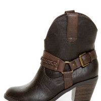 Soda West Dark Brown Harness Mid Calf Cowgirl Boots - $34.00