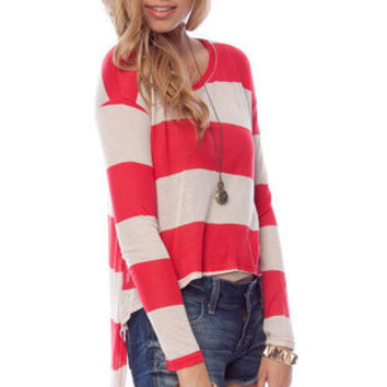 Inside Scoop Neck Striped Top