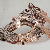 2014 Style Mask Rose Gold Luxury Woman's Mask Mardi Gras Masquerade Mask Party Halloween Ball Prom