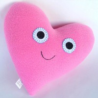 Snuggle Monster: Pink Heart Plushie by chasingmystar on Etsy