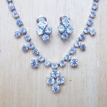 Vintage 1950s Matching Clear Rhinestone Necklace and Clip-on Earring Set