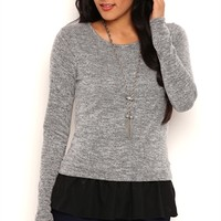 Long Sleeve Marled Knit Top with Skirted Chiffon Bottom