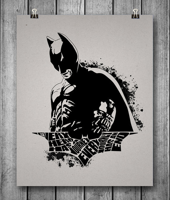 The Dark Knight Rises Unofficial Batman Movie Poster - Every Hero Has A Journey, Every Journey Has An End - 8x10