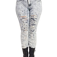High Waisted Destroyed Acid Skinny | Wet Seal+