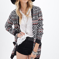 FOREVER 21 Fair Isle Pattern Cardigan Cream/Black