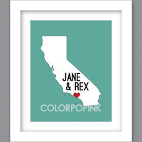 SALE ... Print Love, Wedding, Anniversary State Art California (8X10) Unframed