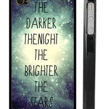 """Trendy Slim iPhone 4 4SCase - Galaxy Star Milky Way Universe quote """"The darker the night the brighter the stars"""""""