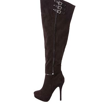 Thigh High Belted Platform Boots by Charlotte Russe - Black
