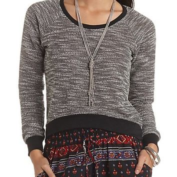 Marled High-Low Sweatshirt by Charlotte Russe - Black/Ivory