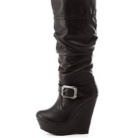 Bamboo Buckled Slouchy Wedge Boots by Charlotte Russe - Black