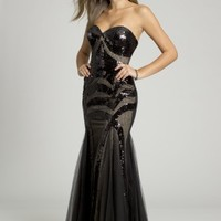 Strapless Sequin Dress with Mesh Lace Motif