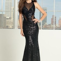 Sequin and Illusion Mesh Dress with Inserts
