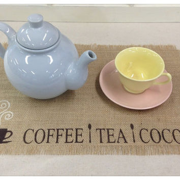 Burlap Placemats with Coffe Tea Cocoa and a mug & spoons