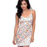 White & Floral Dizzy Full Stretch Slip