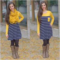 Cabin In The Woods Dress (Navy / Mustard) - Piace Boutique