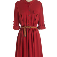ModCloth Mid-length Long Sleeve Shirt Dress Predict the Possibilities Dress