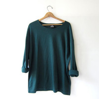 vintage slouchy knit shirt. Forest green oversized top. pullover shirt.