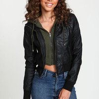 Layered Knit Hoodie Leatherette Jacket