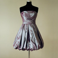 Balloon Style Skirt Strapless Taffeta Fabric Custom Made Short Prom Dress