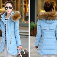 Womens Fashion Winter Outwear Warm Down Cotton Coat Light Blue   Faux Fur Collar BOTW