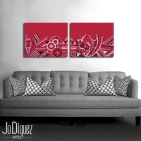 Original abstract painting on canvas. 16x42. Red painting. Large painting. 2 piece canvas art. Modern wall art.