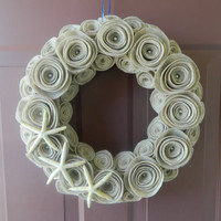 Summer Wreath - Beach Wreath - 14 Inch Felt Flower Wreath in Sandstone with Pearls and Starfish