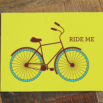 Funny Adult Card 'Ride Me' - funny card for boyfriend, girlfriend, wife, husband, bike card, joke card, sexy card, adult humor card