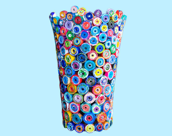Recycled Magazine Vase: colorful vase upcycled from magazines