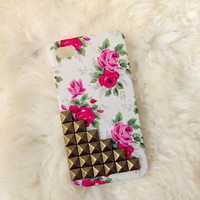 Studded retro floral  iPhone 4 / 4S case with bronze studs:)