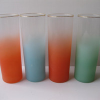 Vintage Federal Frosty Orange Aqua Green Iced Tea Tumblers Set of Four