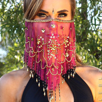 Hot Pink Face Veil - One-Size / Hot Pink