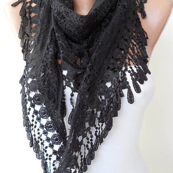 Laced Fabric - Black Laced Scarf with Special Black Trim Edge