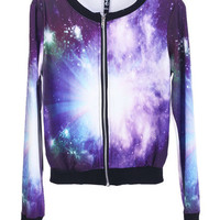 Starry Sky Print Purple Jacket [NCSOD0095] - $38.94 :
