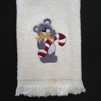 Christmas Bathroom Tea Towel Embroidered with an adorable Grey Bear and Candy Cane