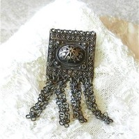 Old Sterling 0.935 Silver Filigree Brooch Delicate Chain Pendants