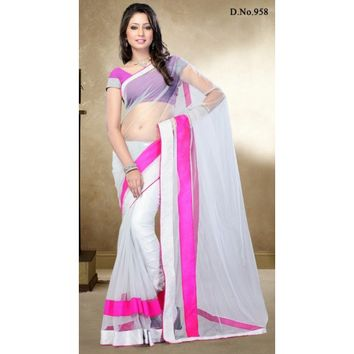 Enticing Sky Blue Net Saree - Sarees - Womens Clothing - TheEthnicWear