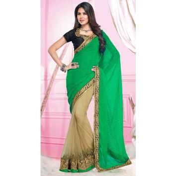 Stylish Beige And Green Pure Chiffon Saree - Sarees - Womens Clothing - TheEthnicWear