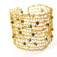 Golden Wire Wrapped Cuff With Swarovski Crystals